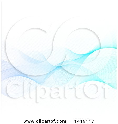 Clipart of a Background of Flowing Blue Waves on White - Royalty Free Vector Illustration by KJ Pargeter