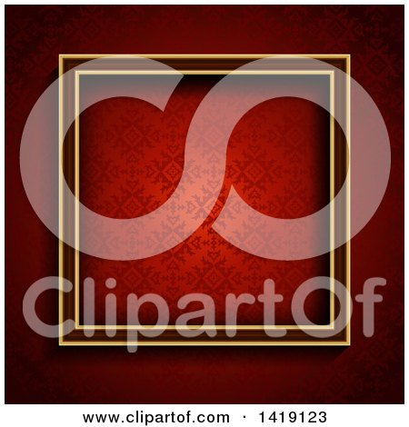 Clipart of a 3d Square Frame over Red Damask - Royalty Free Vector Illustration by KJ Pargeter