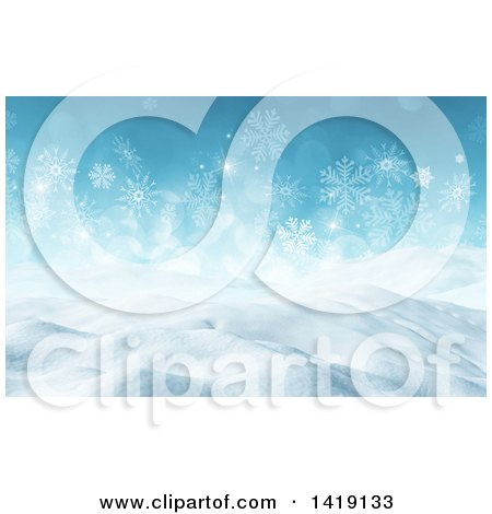 Clipart of a 3d Snowy Winter Landscape with Snowflakes - Royalty Free Illustration by KJ Pargeter