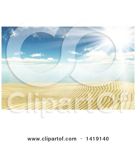 Clipart of a 3d Sandy Beach and Ocean Under a Sunny Sky - Royalty Free Illustration by KJ Pargeter