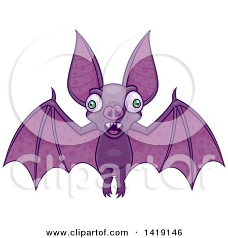 Clipart Of A Cartoon Wacky Flying Vampire Bat Royalty Free Vector Illustration