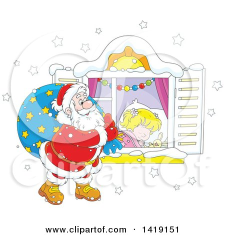 Clipart of a Caucasian Girl Sleeping on Christmas Eve While Santa Peeks in Her Window - Royalty Free Vector Illustration by Alex Bannykh
