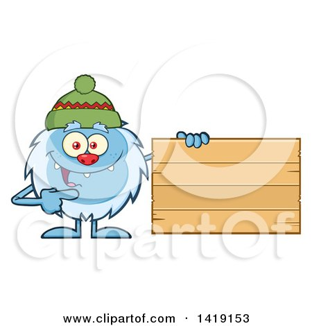 Cartoon Yeti Abominable Snowman Wearing a Winter Hat and Pointing to a Blank Wood Sign Posters, Art Prints