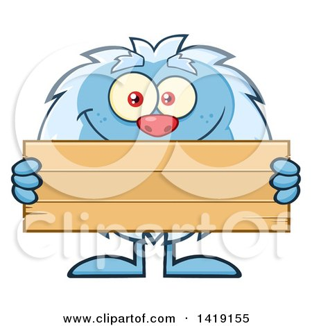 Cartoon Yeti Abominable Snowman Holding a Blank Wood Sign Posters, Art Prints