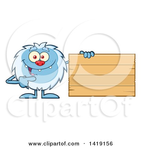 Cartoon Yeti Abominable Snowman Pointing to a Blank Wood Sign Posters, Art Prints