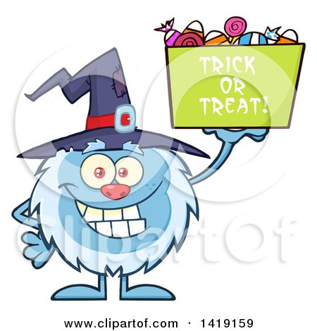 Cartoon Yeti Abominable Snowman Wearing a Witch Hat and Trick or Treating on Halloween Posters, Art Prints