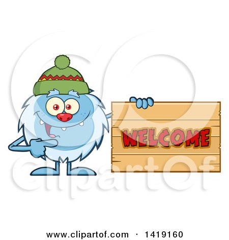 Cartoon Yeti Abominable Snowman Wearing a Hat and Pointing to a Welcome Sign Posters, Art Prints