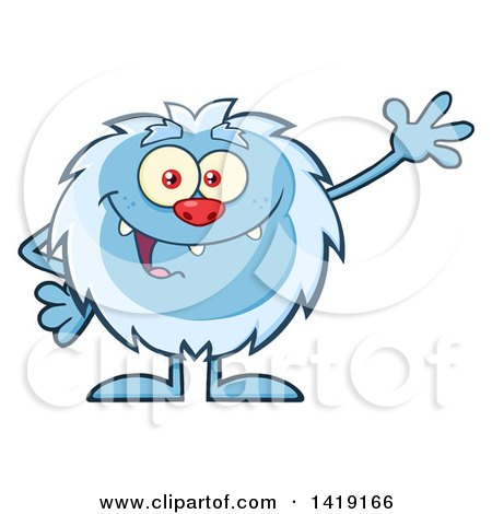 Cartoon Yeti Abominable Snowman Waving Posters, Art Prints