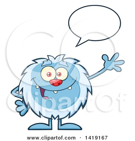 Clipart of a Cartoon Yeti Abominable Snowman Talking and Waving - Royalty Free Vector Illustration by Hit Toon