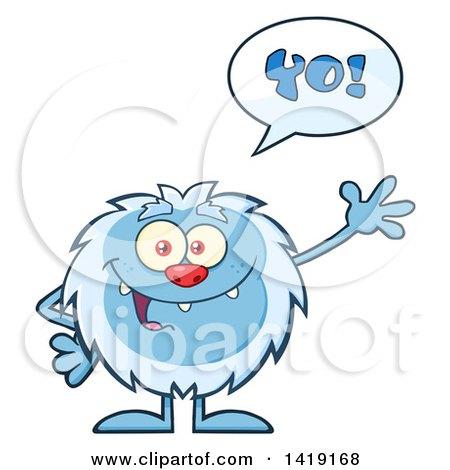 Cartoon Yeti Abominable Snowman Talking and Waving Posters, Art Prints
