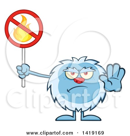 Clipart of a Cartoon Yeti Abominable Snowman Holding a No Fire Sign - Royalty Free Vector Illustration by Hit Toon