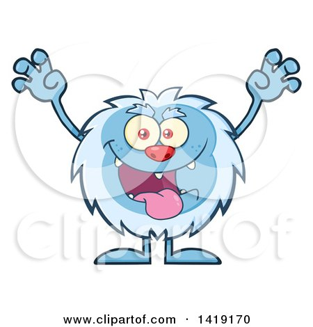 Clipart of a Cartoon Yeti Abominable Snowman Scaring - Royalty Free Vector Illustration by Hit Toon