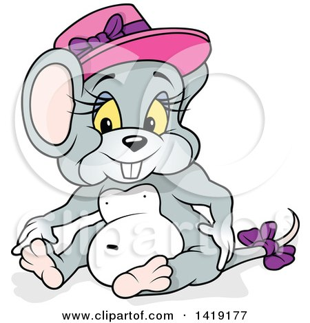 Clipart of a Cartoon Female Mouse Sitting and Wearing a Pink Hat - Royalty Free Vector Illustration by dero