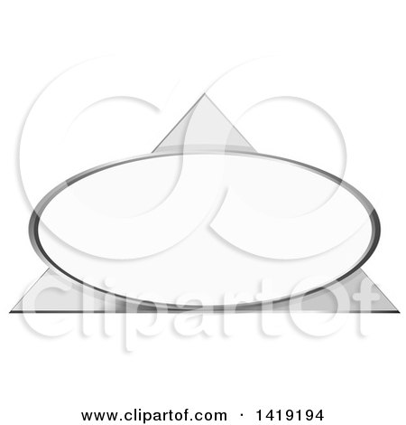 Clipart of an Oval Silver Label Frame with a Pyramid - Royalty Free Vector Illustration by elaineitalia
