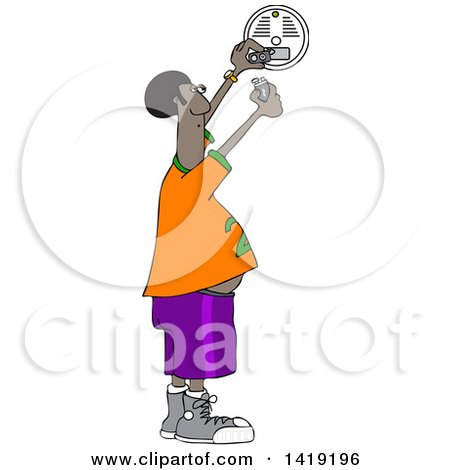 Clipart of a Cartoon Chubby African Man Putting a New Battery in a Smoke Detector - Royalty Free Vector Illustration by djart