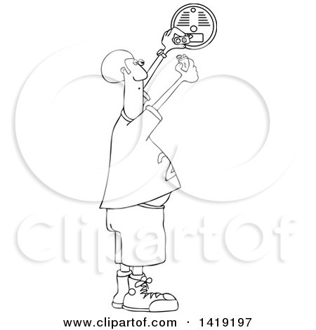 Clipart of a Cartoon Black and White Lineart Chubby African Man Putting a New Battery in a Smoke Detector - Royalty Free Vector Illustration by djart
