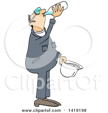Clipart of a Cartoon Thirsty Caucasian Male Worker Wearing Coveralls and Drinking Water - Royalty Free Vector Illustration by djart