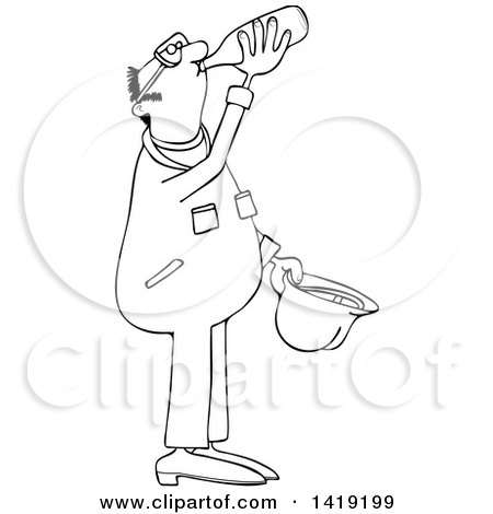 Clipart of a Cartoon Black and White Lineart Thirsty Male Worker Wearing Coveralls and Drinking Water - Royalty Free Vector Illustration by djart