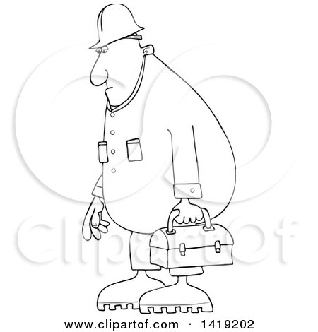 Clipart of a Cartoon Black and White Lineart Chubby Male Worker Wearing Coveralls and Carrying a Lunch Box - Royalty Free Vector Illustration by djart