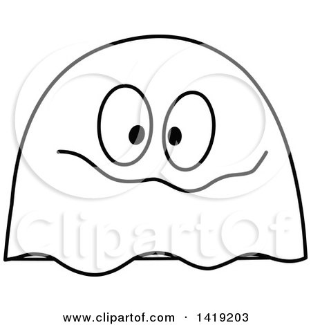 Clipart of a Black and White Goofy Ghost Emoticon - Royalty Free Vector Illustration by yayayoyo
