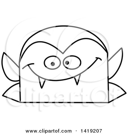 Clipart of a Black and White Vampire Face Emoji - Royalty Free Vector Illustration by yayayoyo