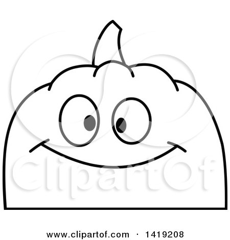 Clipart of a Black and White Pumpkin Face Emoji - Royalty Free Vector Illustration by yayayoyo