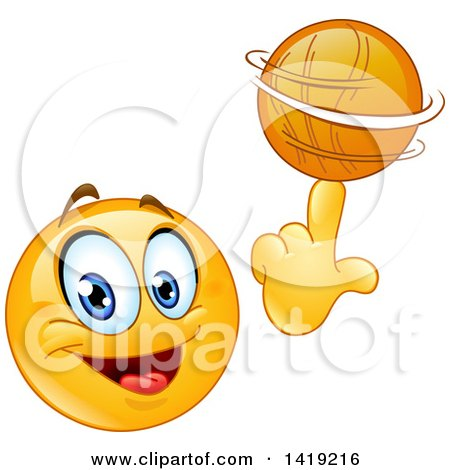 Clipart of a Sporty Smiley Face Emoji Emoticon Spinning a Basketball on His Finger - Royalty Free Vector Illustration by yayayoyo