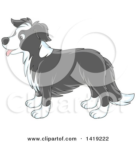 Clipart of a Cartoon Panting Cute Gray and White Border Collie Dog in Profile - Royalty Free Vector Illustration by Alex Bannykh
