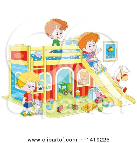 Clipart of a Cat and Caucasian Boys Playing with Toys and a Slide in a Bedroom - Royalty Free Vector Illustration by Alex Bannykh