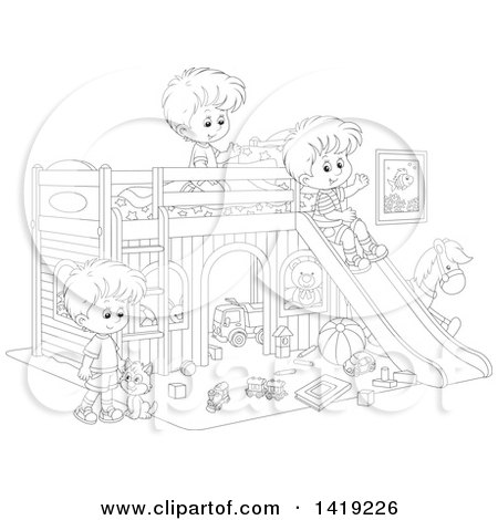 Clipart of a Black and White Lineart Cat and Boys Playing with Toys and a Slide in a Bedroom - Royalty Free Vector Illustration by Alex Bannykh