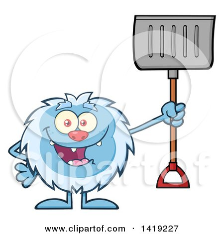 Clipart of a Cartoon Yeti Abominable Snowman Holding a Snow Shovel - Royalty Free Vector Illustration by Hit Toon
