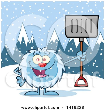 Clipart of a Cartoon Yeti Abominable Snowman Holding a Shovel in the Snow - Royalty Free Vector Illustration by Hit Toon
