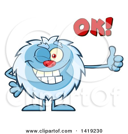 Clipart of a Cartoon Yeti Abominable Snowman Winking, Saying Ok, and Giving a Thumb up - Royalty Free Vector Illustration by Hit Toon