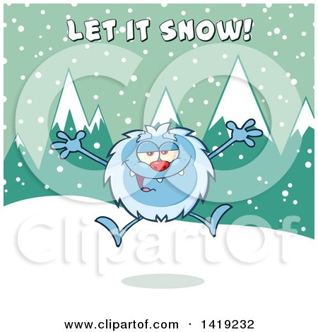 Clipart of a Cartoon Yeti Abominable Snowman Jumping Under Let It Snow Text - Royalty Free Vector Illustration by Hit Toon