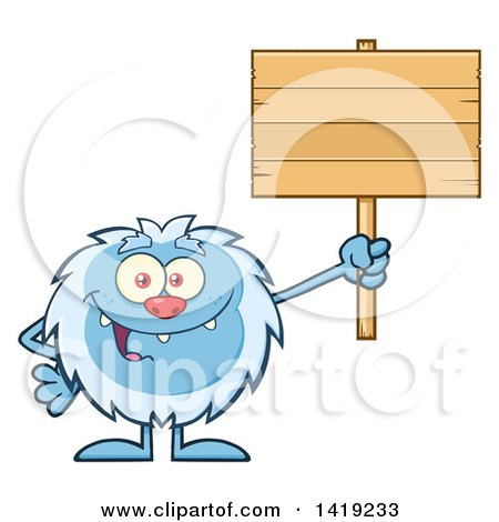 Clipart of a Cartoon Yeti Abominable Snowman Holding up a Blank Wood Sign - Royalty Free Vector Illustration by Hit Toon