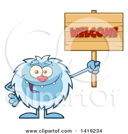 Clipart of a Cartoon Yeti Abominable Snowman Holding a Welcome Sign - Royalty Free Vector Illustration by Hit Toon