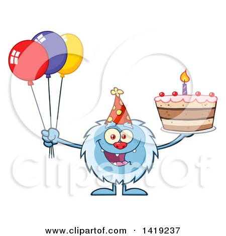 Clipart of a Cartoon Yeti Abominable Snowman Holding a Birthday Cake and Party Balloons - Royalty Free Vector Illustration by Hit Toon