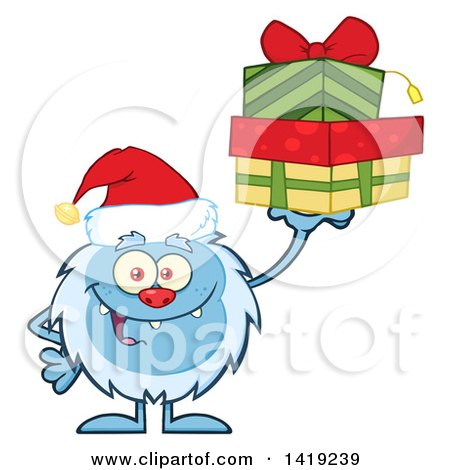 Clipart of a Cartoon Yeti Abominable Snowman Wearing a Christmas Santa Hat and Holding Gifts - Royalty Free Vector Illustration by Hit Toon