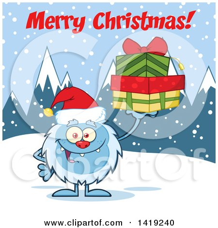 Clipart of a Cartoon Yeti Abominable Snowman Wearing a Christmas Santa Hat and Holding Gifts Under Text in the Snow - Royalty Free Vector Illustration by Hit Toon