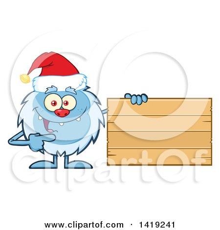 Clipart of a Cartoon Yeti Abominable Snowman Wearing a Christmas Santa Hat and Pointing to a Blank Wood Sign - Royalty Free Vector Illustration by Hit Toon