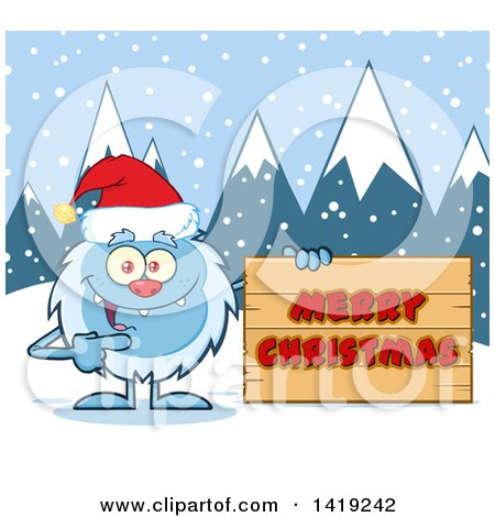 Clipart of a Cartoon Yeti Abominable Snowman Wearing a Christmas Santa Hat and Pointing to a Merry Christmas Sign - Royalty Free Vector Illustration by Hit Toon
