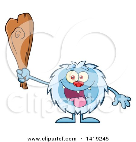 Clipart of a Cartoon Yeti Abominable Snowman Holding a Club - Royalty Free Vector Illustration by Hit Toon