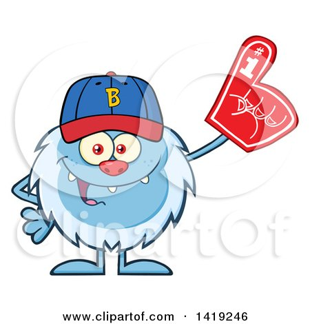 sports fan clipart. clipart of a cartoon yeti abominable snowman sports fan, wearing baseball cap and foam finger - royalty free vector illustration by hit toon fan