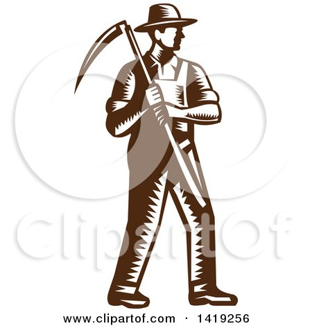Clipart of a Retro Brown and White Woodcut Male Farmer Holding a Scythe - Royalty Free Vector Illustration by patrimonio