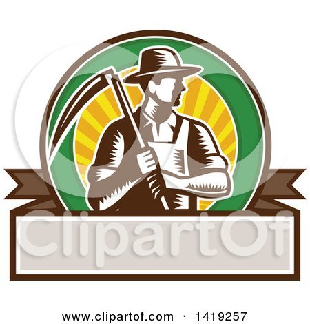 Clipart of a Retro Brown and White Woodcut Male Farmer Holding a Scythe in a Sunset Circle over a Blank Banner - Royalty Free Vector Illustration by patrimonio
