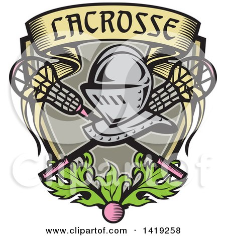 Clipart of a Retro Knight Helmet over Crossed Lacrosse Sticks and a Woodcut Banner Shield with Leaves and a Ball - Royalty Free Vector Illustration by patrimonio