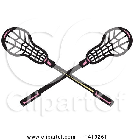 Clipart of Retro Crossed Lacrosse Sticks with Pink Handles - Royalty Free Vector Illustration by patrimonio