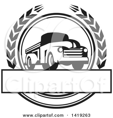 Clipart of a Retro Black and White Vintage Pickup Truck in a Wheat Wreath over a Text Box - Royalty Free Vector Illustration by patrimonio