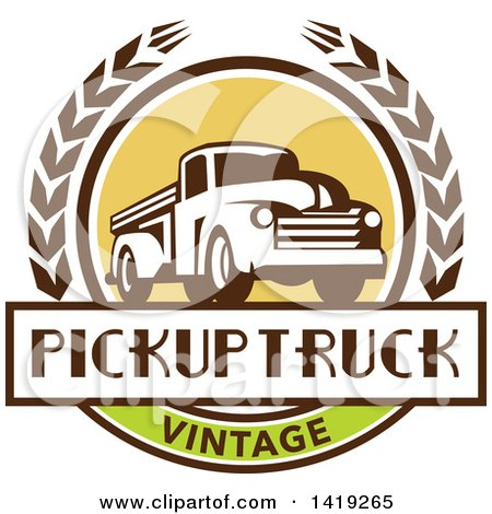 Clipart of a Retro Vintage Pickup Truck in a Wheat Wreath over a Text Box - Royalty Free Vector Illustration by patrimonio