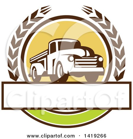 Clipart of a Retro Vintage Pickup Truck in a Wheat Wreath over a Blank Text Box - Royalty Free Vector Illustration by patrimonio